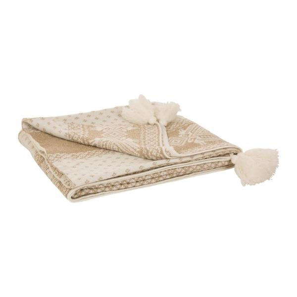 60 in. H Knitted Christmas Throw Blanket With Tassels in Gold and Beige Snowflake