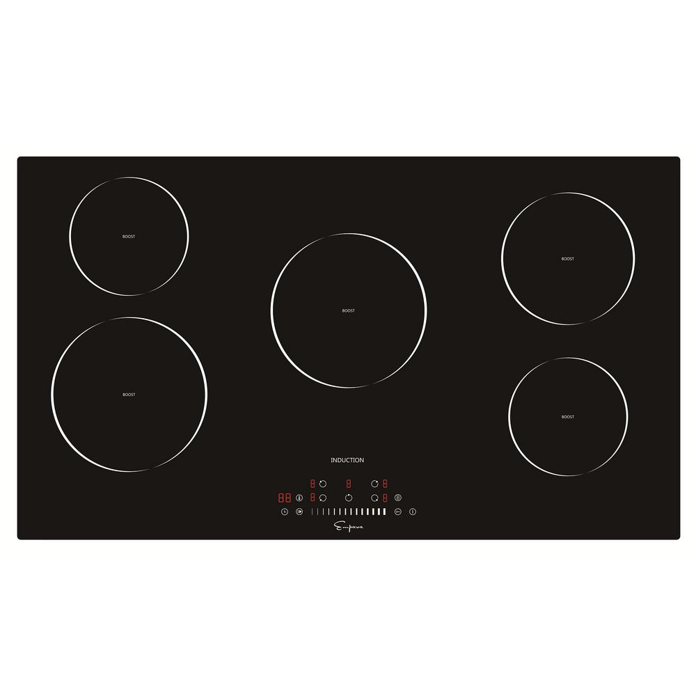 Empava 36 In Electric Stove Induction Cooktop Black 5 Elements Booster Burners Smooth Surface