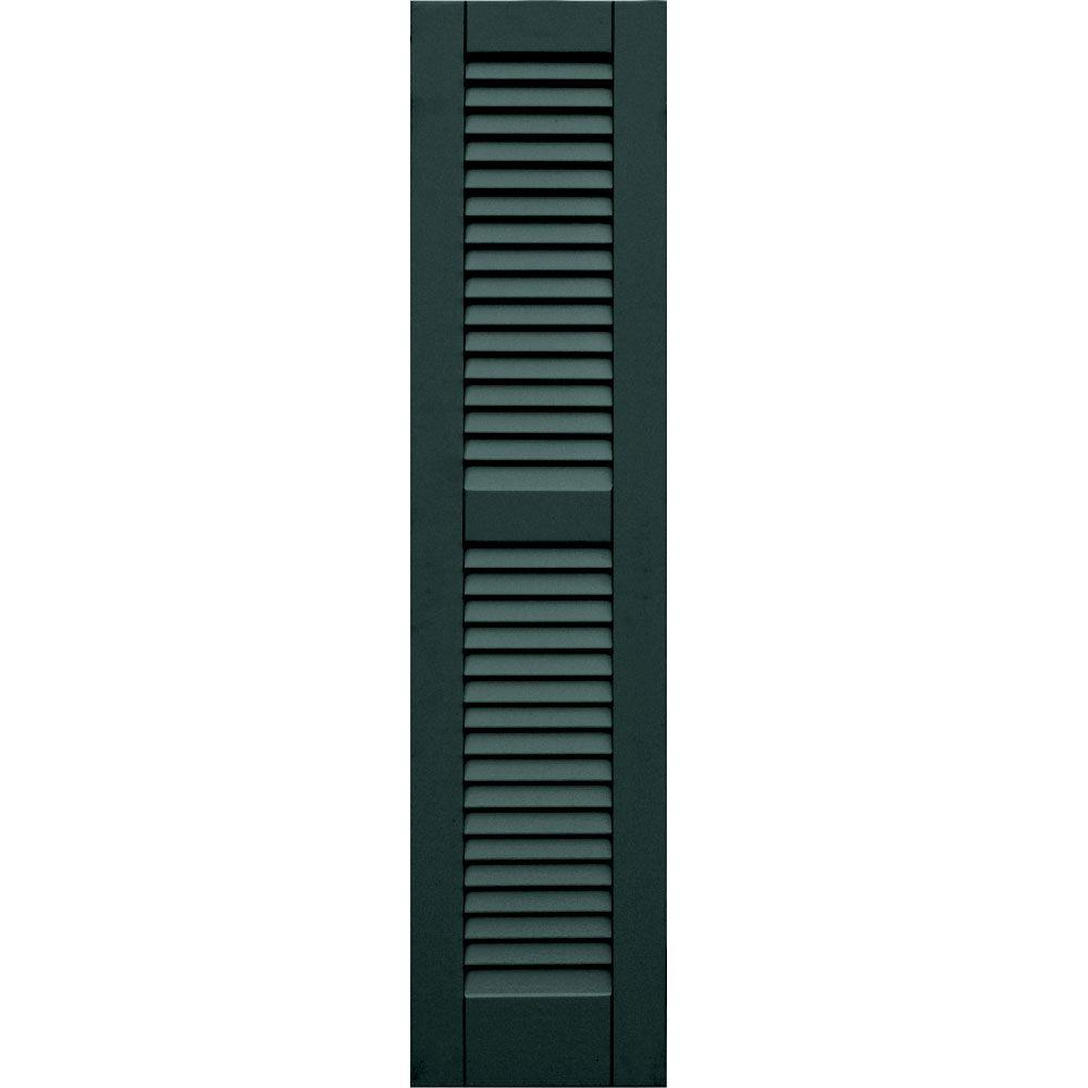 null Wood Composite 12 in. x 51 in. Louvered Shutters Pair #638 Evergreen