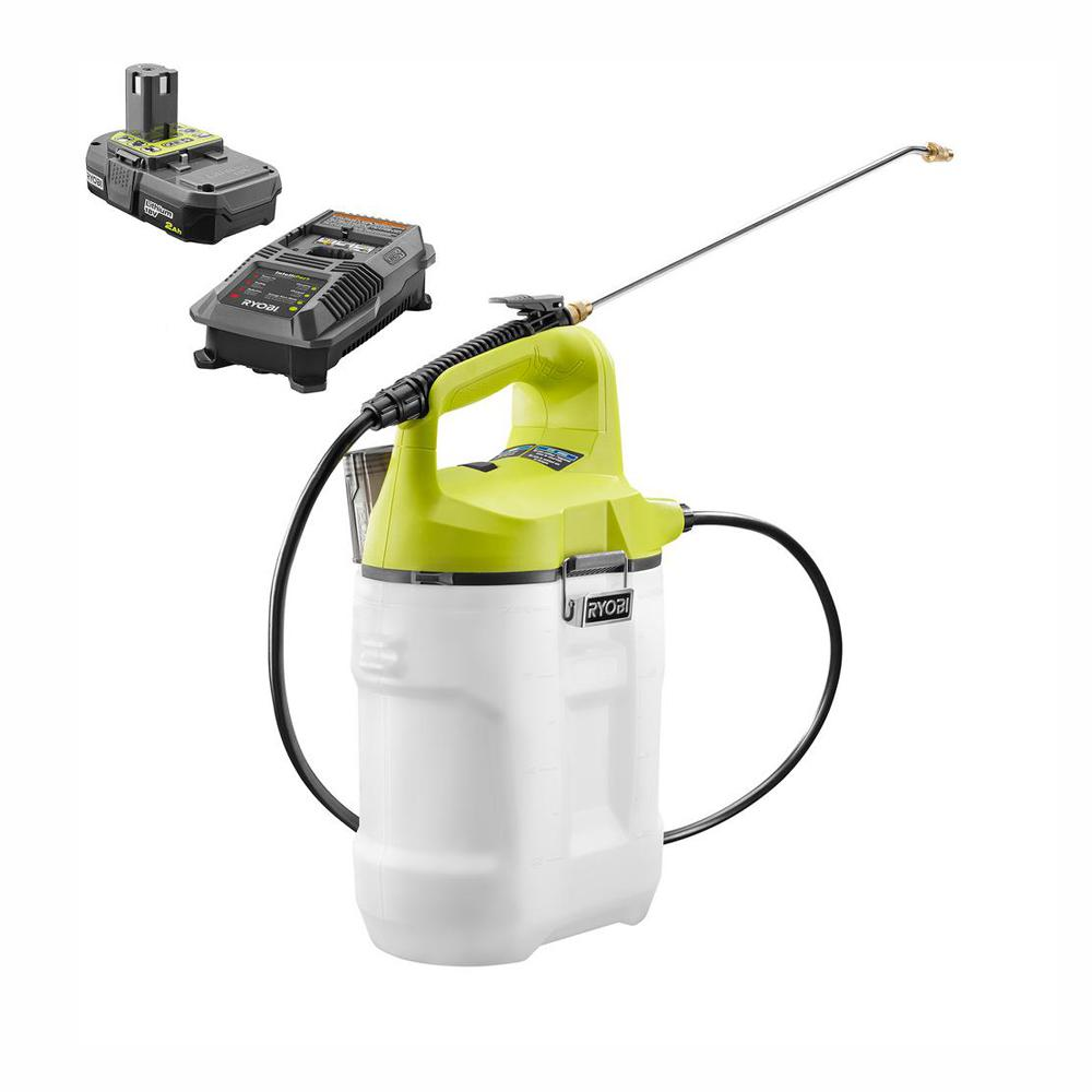 RYOBI ONE+ 18-Volt Lithium-Ion Cordless 2 Gal. Chemical Sprayer with 2.0 Ah Battery and Charger Included