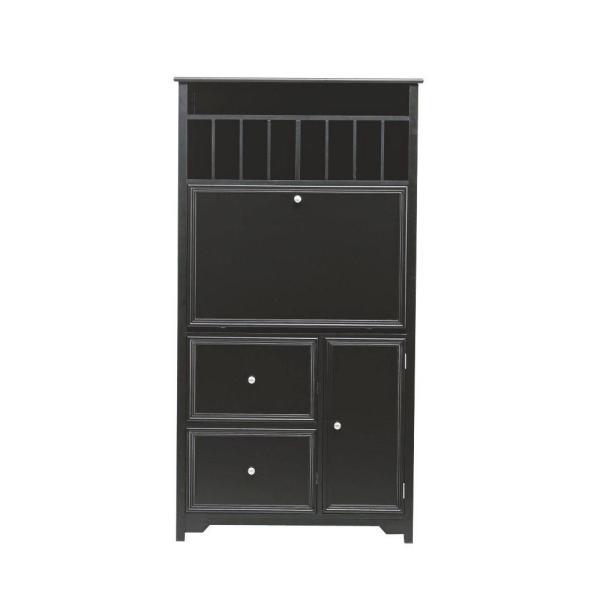 32 in. Rectangular Black 2 Drawer Secretary Desk with Solid Wood Material