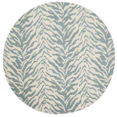 Marbella Blue/Ivory 6 ft. x 6 ft. Round Area Rug