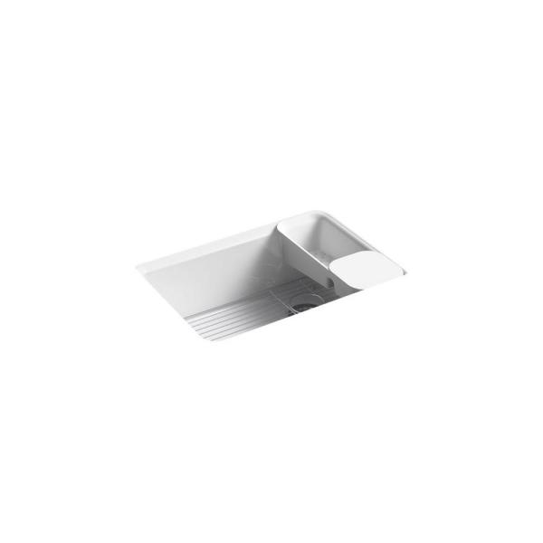 Riverby Workstation Undermount Cast Iron 27 in. 5-Hole Single Bowl Kitchen Sink in White with Included Accessories