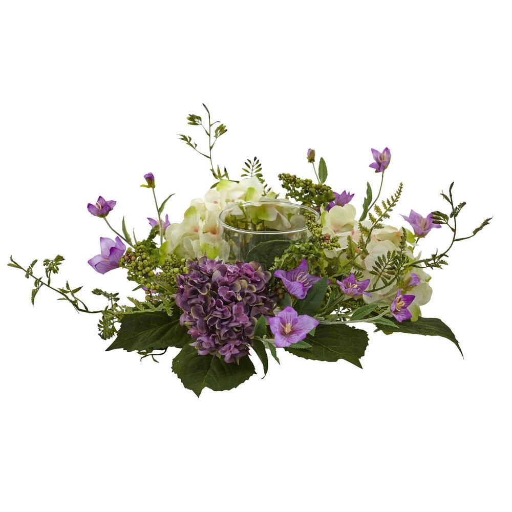 7 in. Hydrangea Berry Candelabrum in Purple