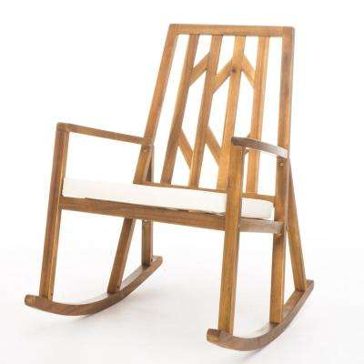 Nuna Wood Outdoor Rocking Chair with Cream Cushion