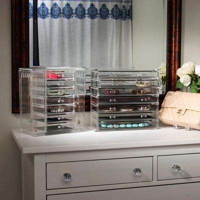 12.44 in. W x 5.98 in. D x 11.06 in. H Emily Acrylic Jewelry Chest in Clear with 6 Removable Drawers