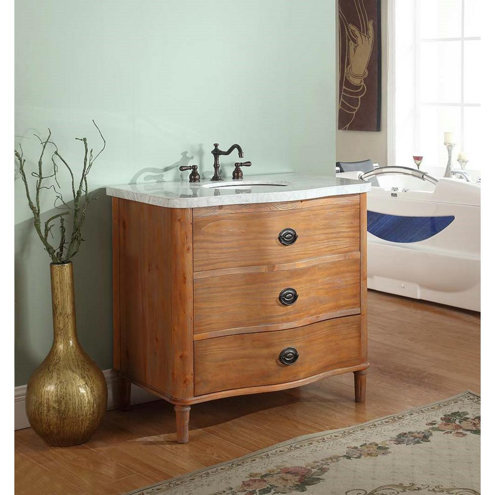 Crawford & Burke Georgia 36 in. W x 23 in. D Vanity in Distressed Pine Finish with Marble Vanity Top in White with White Basin