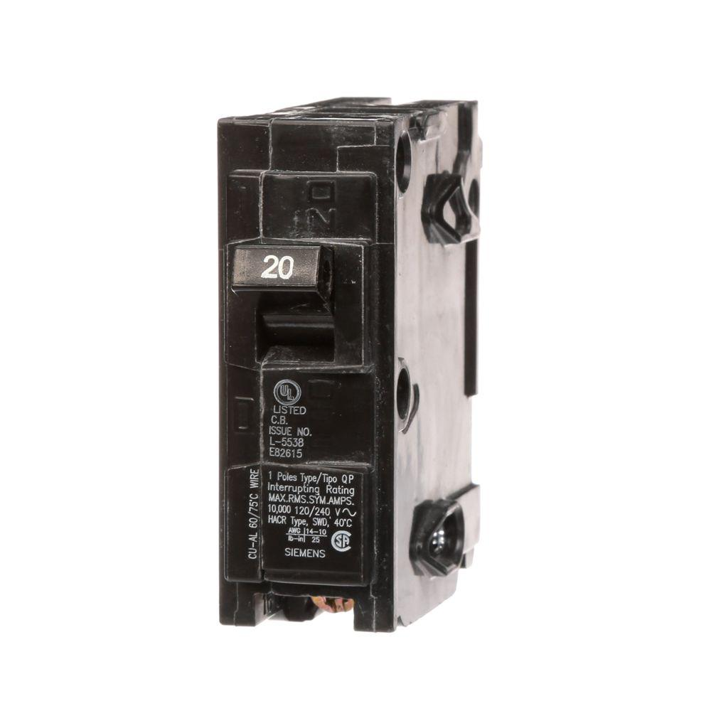 siemens 20 amp single pole type qph 22ka circuit breaker q120h the home depot. Black Bedroom Furniture Sets. Home Design Ideas