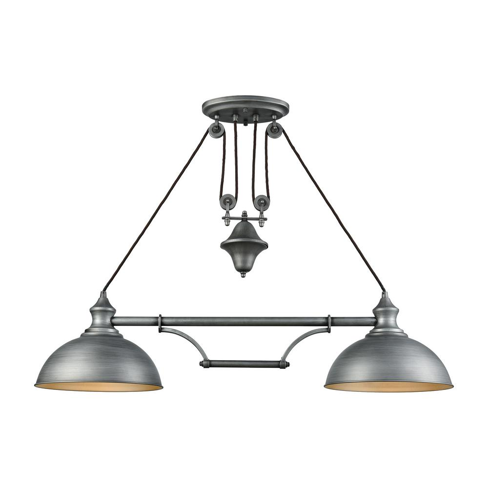 Farmhouse 2 Light Weathered Zinc Pulldown Billiard Light