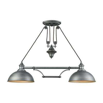 Farmhouse 2-Light Weathered Zinc Pulldown Billiard Light