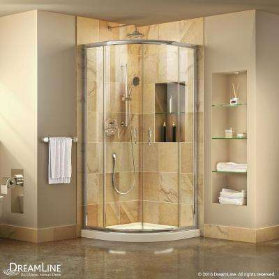 Prime 33 in. x 33 in. x 74.75 in. H Corner Semi-Frameless Sliding Shower Enclosure in Chrome with Shower Base in White