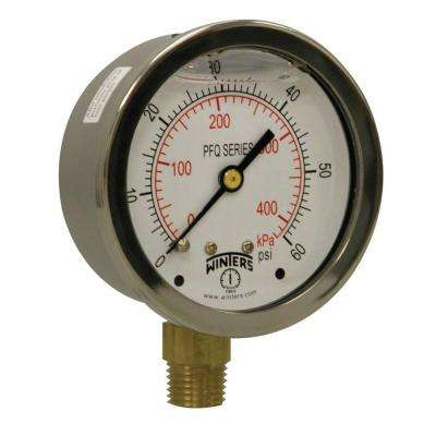PFQ Series 2.5 in. Stainless Steel Liquid Filled Case Pressure Gauge with 1/4 in. NPT LM and Range of 0-60 psi