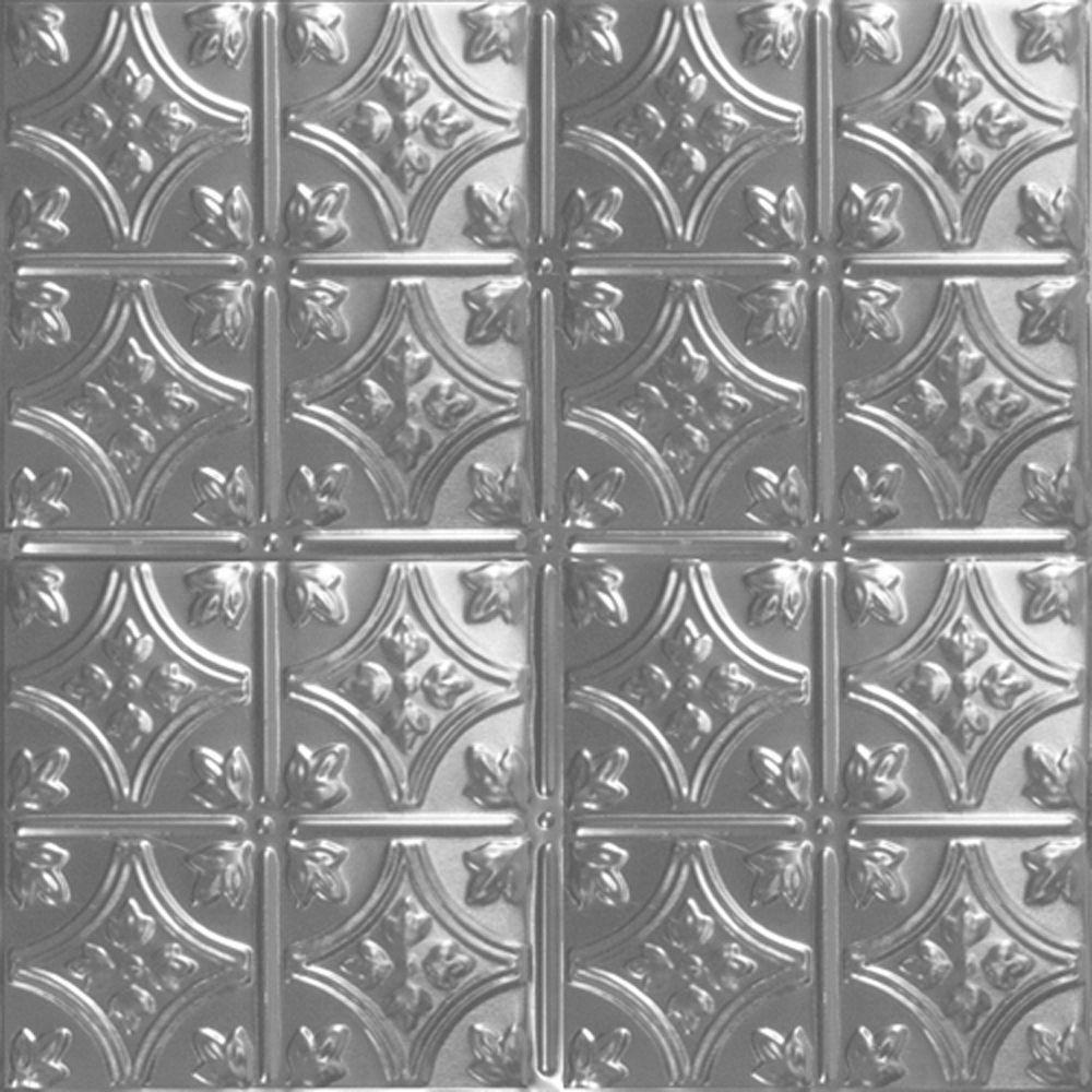 Shanko 2 Ft X 2 Ft Lay In Suspended Grid Tin Ceiling Tile In Bare