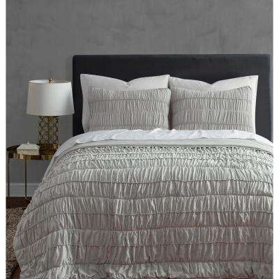 Ultra Soft Garment Wash 3piece Taupe Rouched King Quilt Set