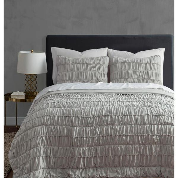 undefined Ultra Soft Garment Wash 3piece Taupe Rouched King Quilt Set