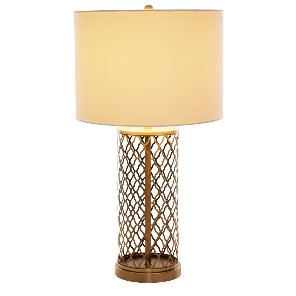 Merveilleux Antique Brass Laser Cut Table Lamp With White Linen Shade