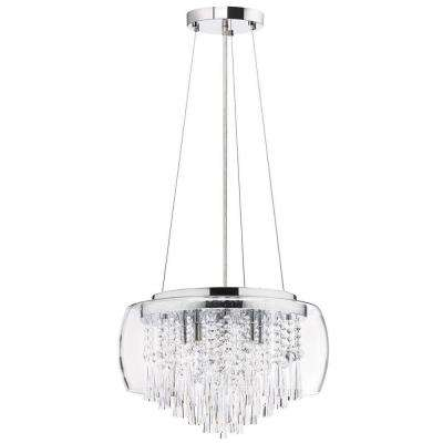 Catherine 8 Light Halogen Polished Chrome Chandelier with Clear Crystal Shades