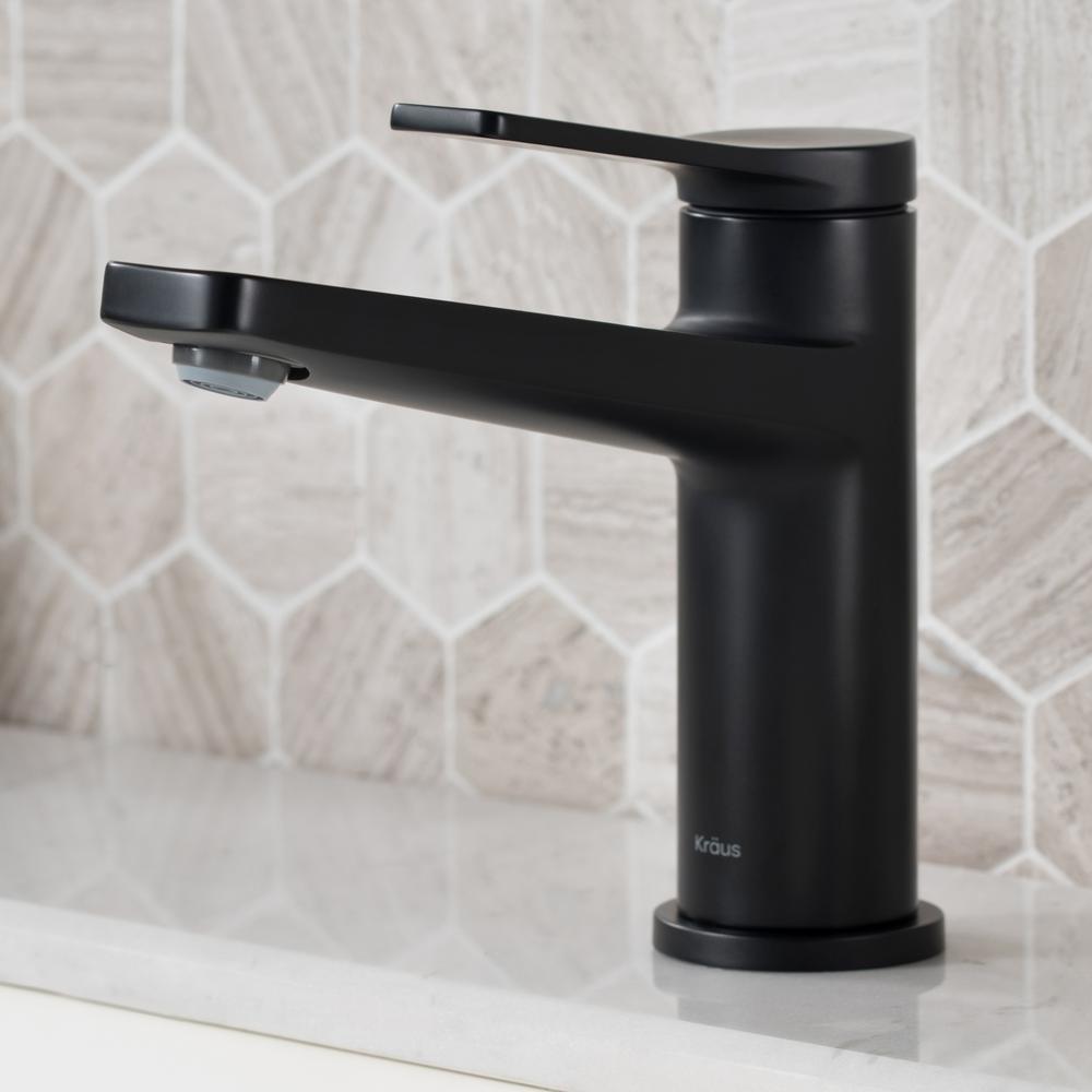 Indy Single Hole Single-Handle Basin Bathroom Faucet in Matte Black