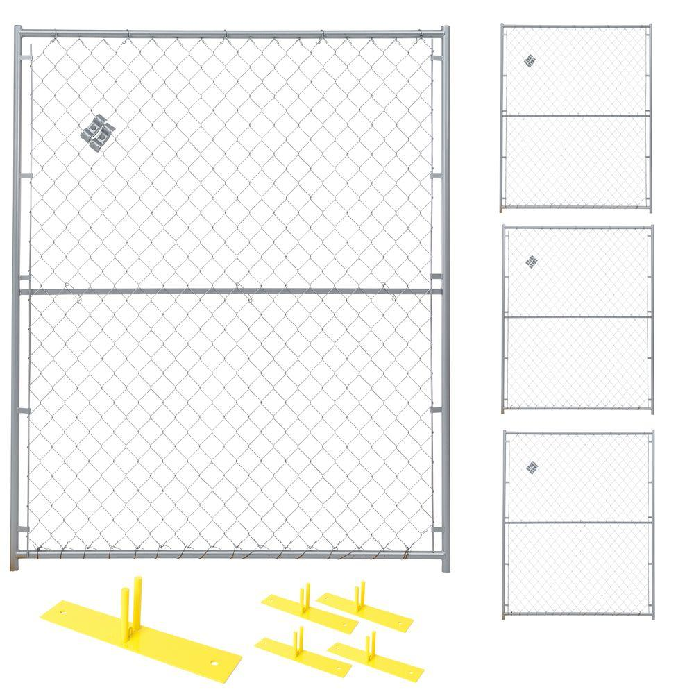 6 ft. x 20 ft. 4-Panel Powder-Coated Chain Link Temporary Fencing