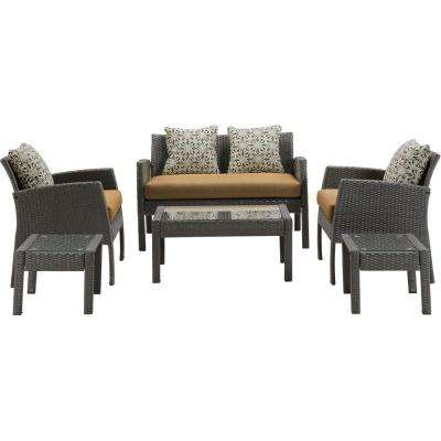 Bennington Coffee 6-Piece All-Weather Wicker Patio Conversation Set with Tan Cushions