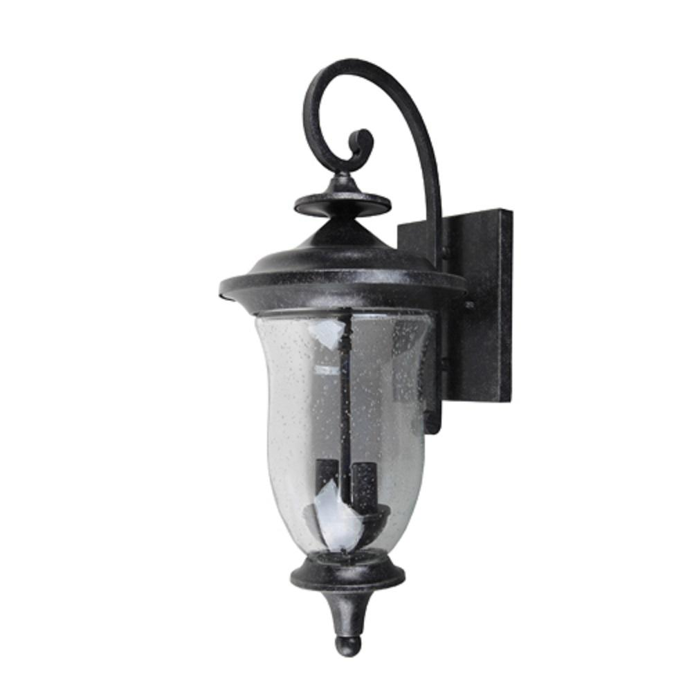 Y decor brielle 1 light brown stone outdoor wall mount lantern el8001st 2m the home depot for Exterior wall mounted lanterns