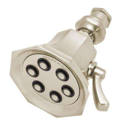 Vintage Anystream Icon 3-Spray 3.4 in. Signature Brass Fixed Showerhead in Brushed Nickel