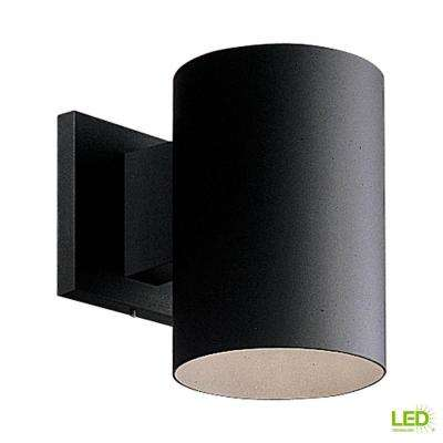 1-Light Black Integrated LED 7.5 in. Outdoor Wall Mount Cylinder Light