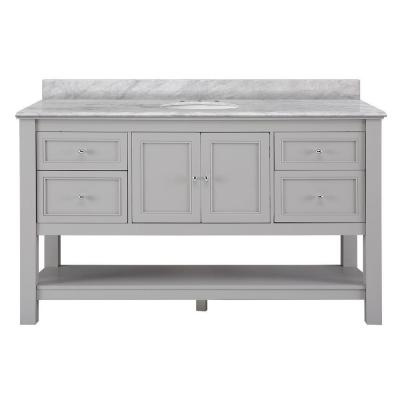 Gazette 61 in. W x 22 in. D Bath Vanity in Grey with Marble Vanity Top in Carrara White