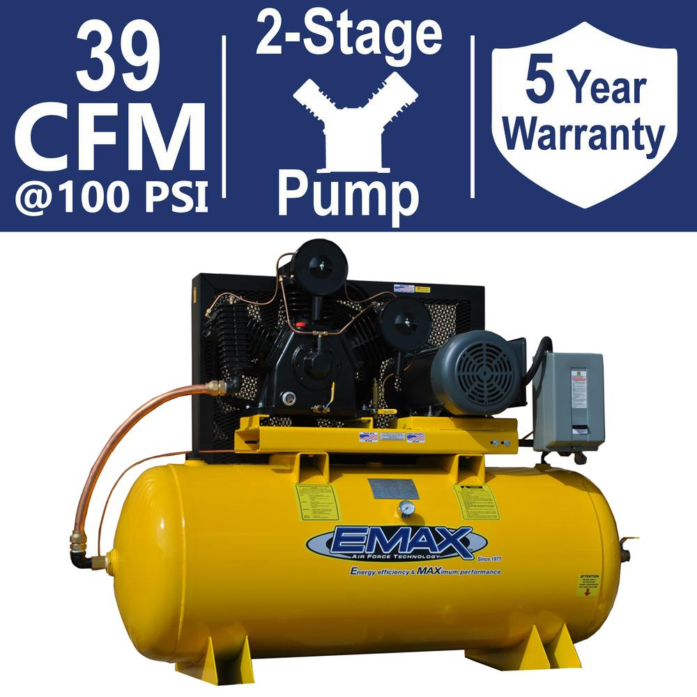 EMAX Industrial Plus Series 120 Gal. 10 HP 230-Volt 3-Phase 2 Stage Stationary Electric Air Compressor