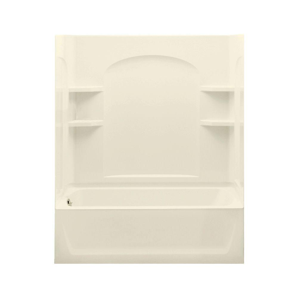 STERLING Ensemble 32 in. x 60 in. x 74 in. Bath and Shower Kit with Left-Hand Drain in Biscuit