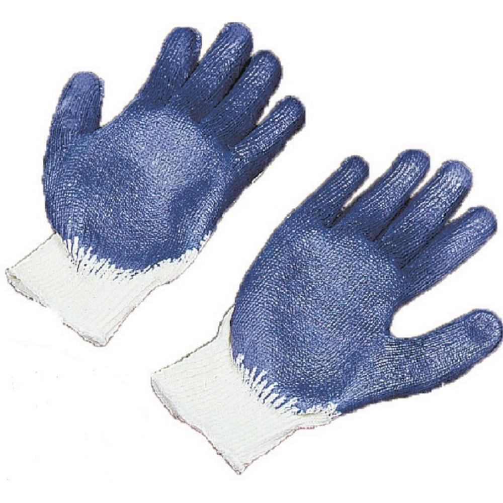 Large White String Knit Sure Grip Gloves with Blue Latex Coated