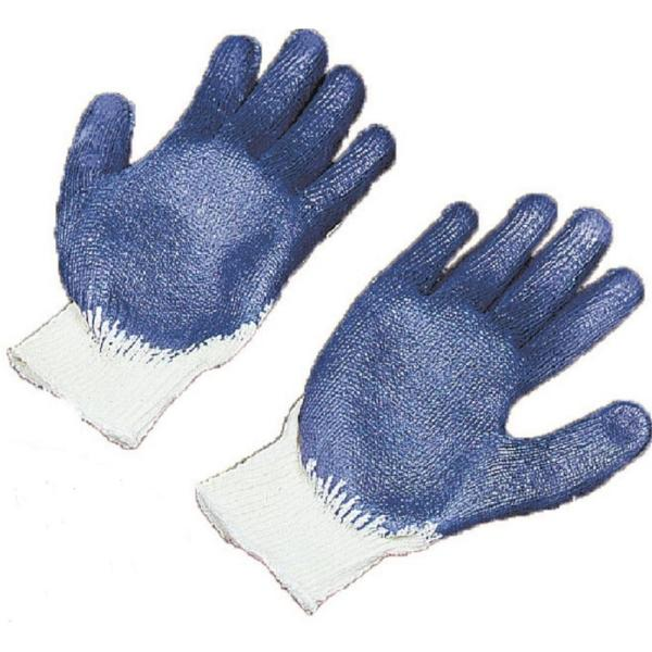 Large White String Knit Sure Grip Gloves with Blue Latex Coated Palm and Fingers (24-Pack)
