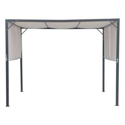 Westray 10 ft. x 10 ft. Black Steel-Framed Canopy Gazebo with Gray Fabric Shade