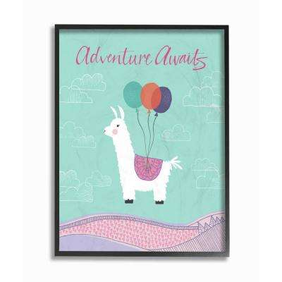 "16 in. x 20 in. ""Adventure Awaits Llama with Balloons"" by Border Bloom Printed Framed Wall Art"