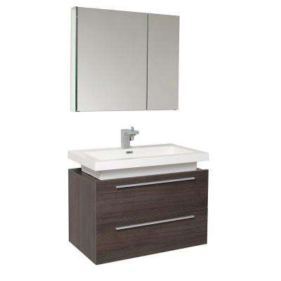 Medio 32 in. Vanity in Gray Oak with Acrylic Vanity Top in White with White Basin and Mirrored Medicine Cabinet