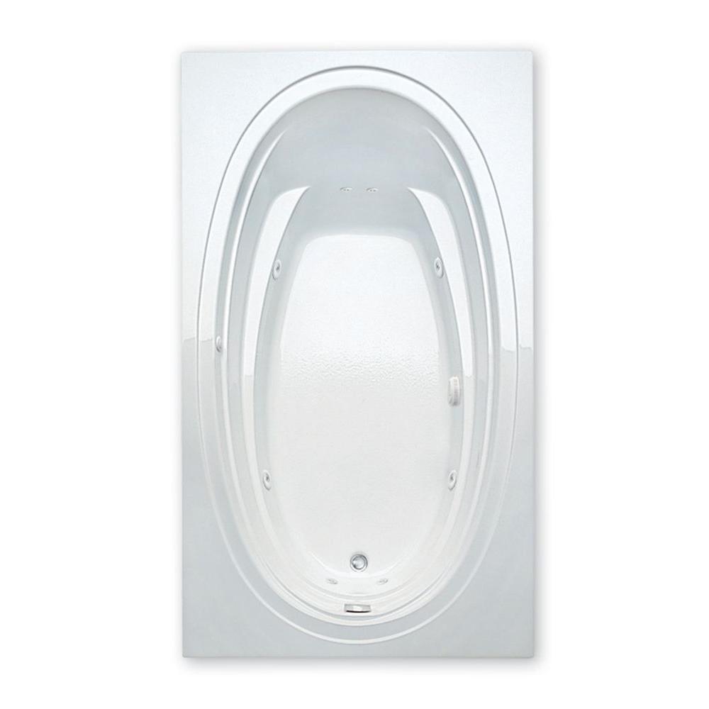 Aquatic Alydar II 6 ft. Acrylic Reversible Drain Rectangular Drop-in Whirlpool Bathtub in White