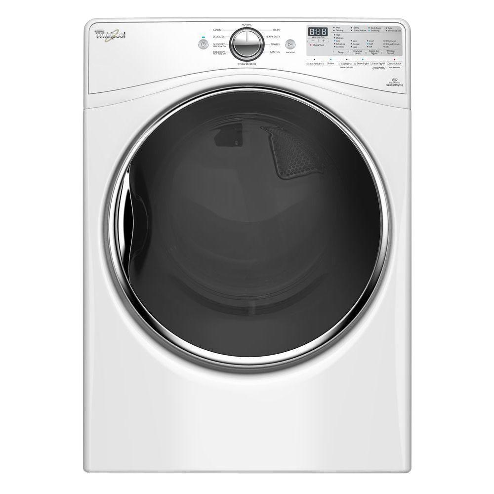 whirlpool 7 4 cu ft gas dryer with steam in white wgd92hefw the home depot. Black Bedroom Furniture Sets. Home Design Ideas