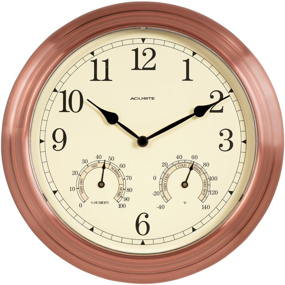 14 in. Copper Wall Clock with Analog Thermometer and Hygrometer