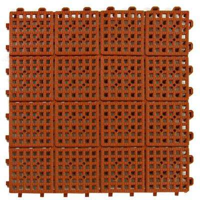 Patio Non-Slip 11.5 in. x 11.5 in. Interlocking Outdoor Deck Tile PVC Terra Cotta Case of 30