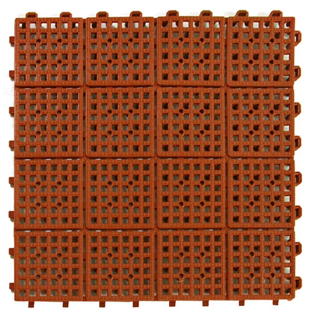 Patio Non-Slip 11.5 in. x 11.5 in. Interlocking Outdoor Deck Tile PVC Terra Cotta Case of 30