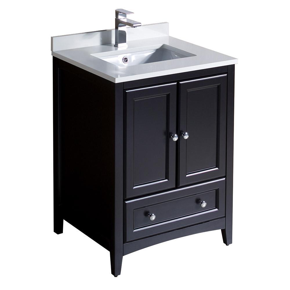 Fresca oxford 24 in bath vanity in espresso with quartz for 24 white bathroom vanity with top