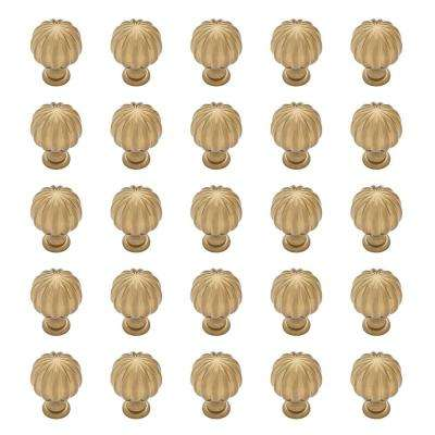 Fluted Classic 1-3/16 in. (30 mm) Champagne Bronze Round Cabinet Knob (25-Pack)