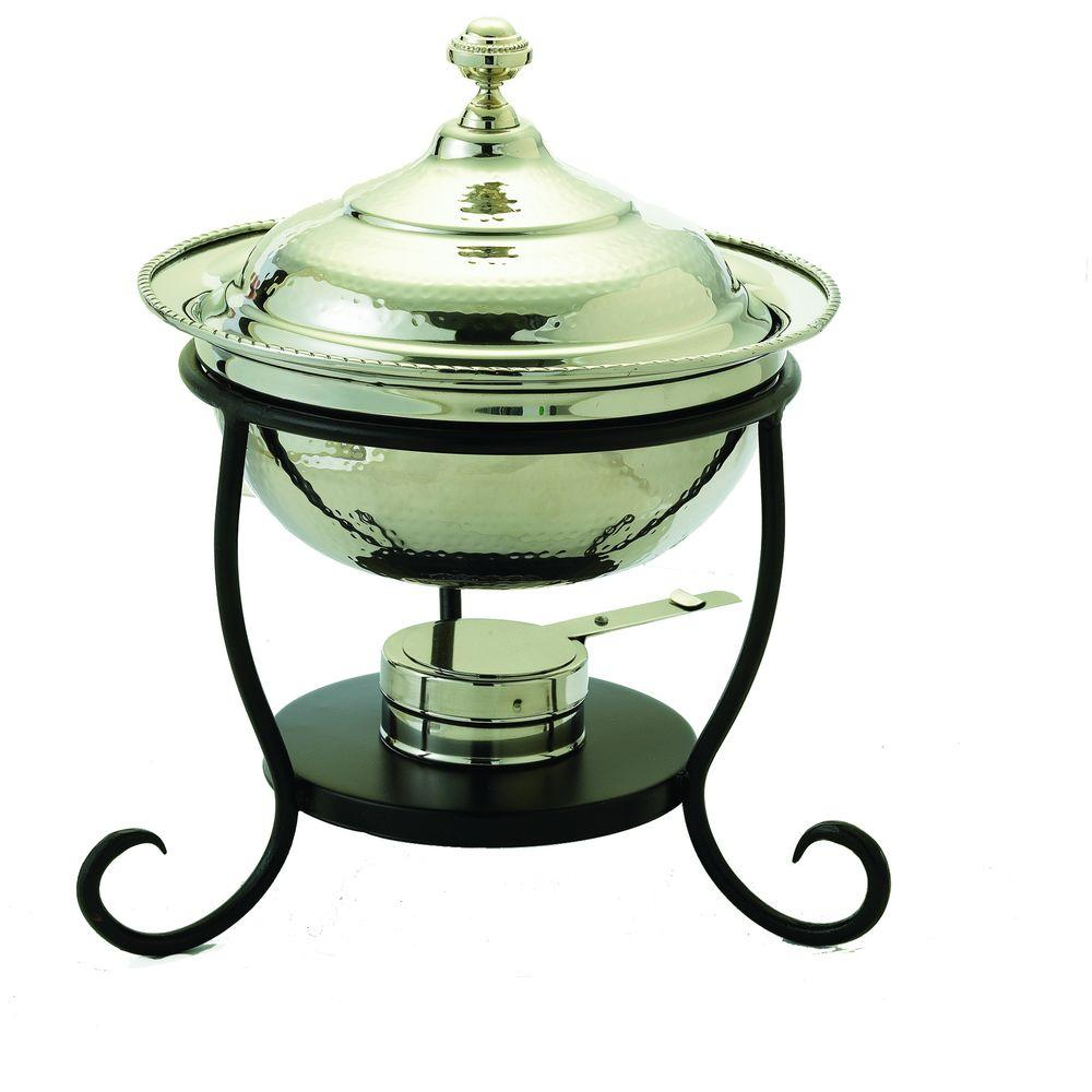 Old Dutch 3 qt. 12 in. x 15 in. Round Polished Nickel over Stainless Steel Chafing Dish