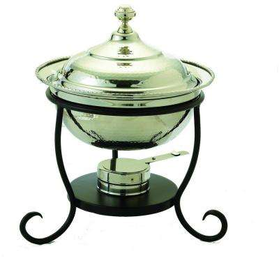 3 qt. 12 in. x 15 in. Round Polished Nickel over Stainless Steel Chafing Dish
