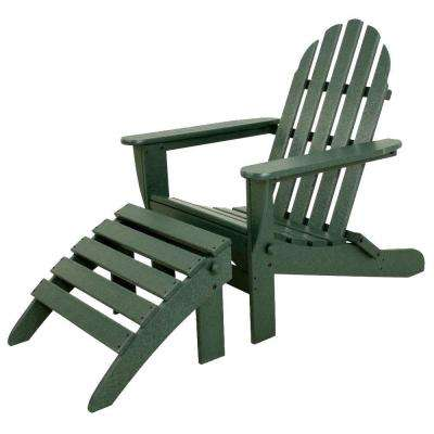 Classics Green 2-Piece Folding Plastic Adirondack Chair