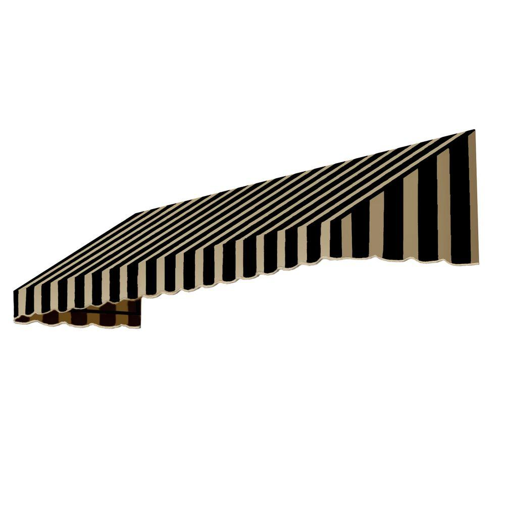 AWNTECH 10 ft. San Francisco Window/Entry Awning (24 in. H x 48 in. D) in Black/Tan Stripe