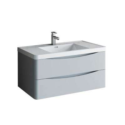 Tuscany 40 in. Modern Wall Hung Vanity in Glossy Gray with Vanity Top in White with White Basin