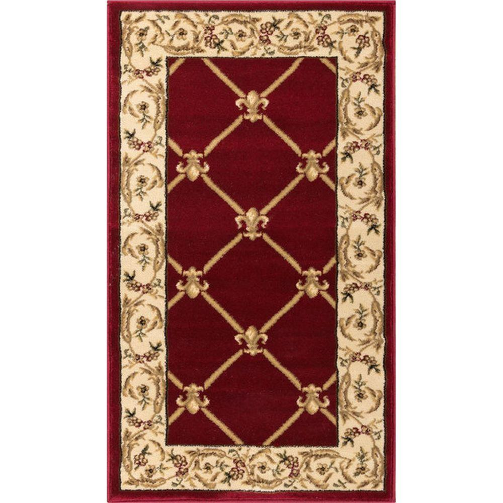 Well Woven Timeless Fleur De Lis Red 2 Ft X 4 Ft Formal Area Rug