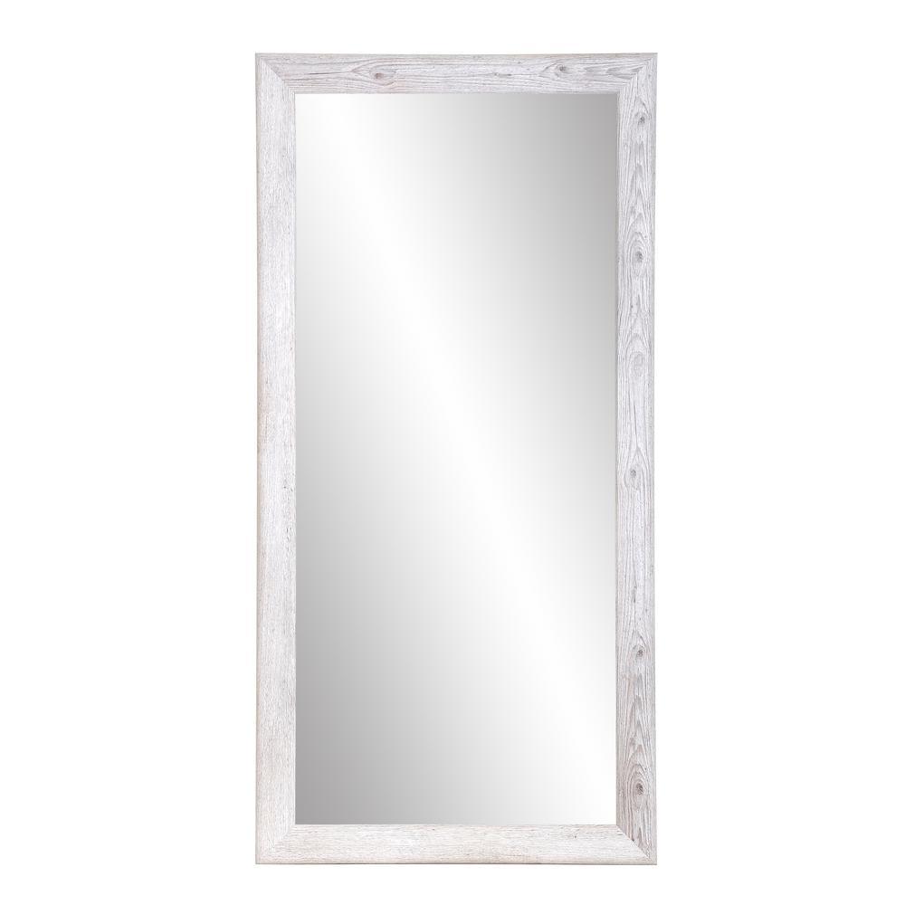 White Washed Farmhouse Floor Mirror