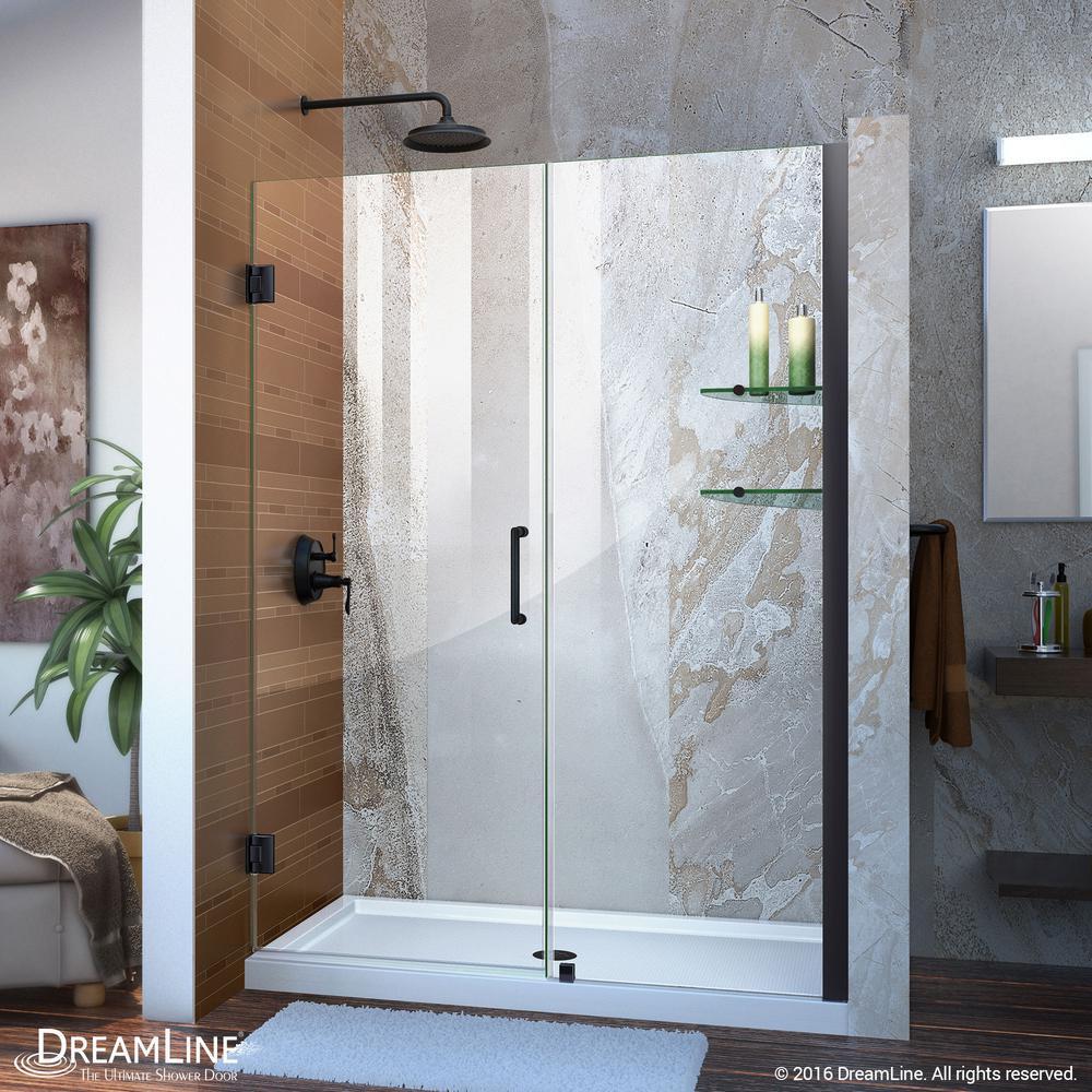 Unidoor 48 in. x 72 in. Frameless Hinged Shower Door in Satin Black